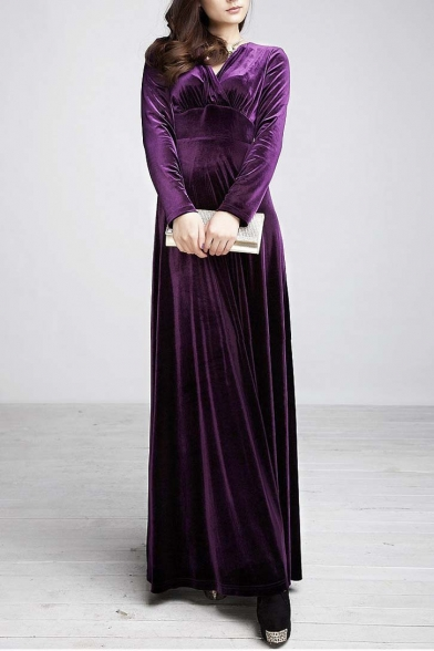 Women long sleeve V-neck Velvet Stretchy Long Dress