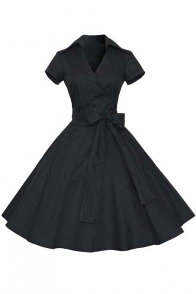 Women's Cap Sleeve Casual Dress Wrap Dresses