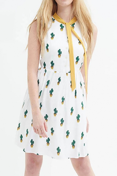 f5a9c9c12163 New Arrival Cactus Print Tie Neck Sleeveless A-line Dress -  Beautifulhalo.com