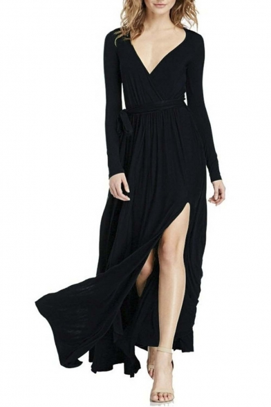 Women's Deep V-Neck Split Long Sleeve Party Maxi Dress With Belt
