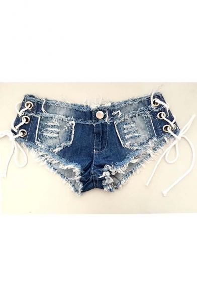 Sexy Women Denim Jeans Shorts Short Hot Pants Low Waist Side Straps