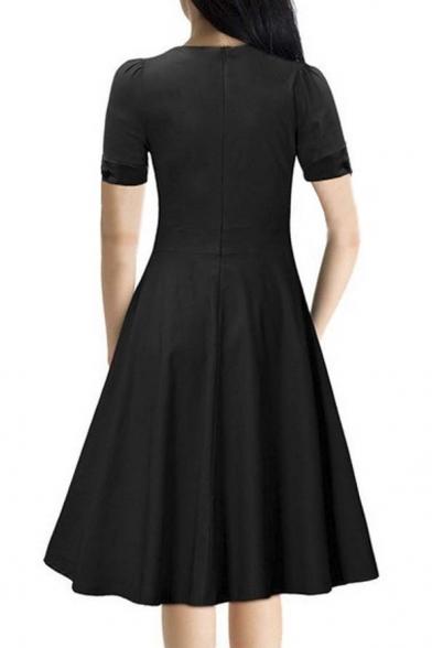 481007b9252 ... Vintage Swing Midi Dress-Women 1950s Vintage Knee Length Party Cocktail  Dress