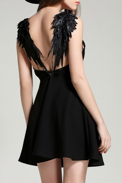 New Design Hollow Wing Back Embellish Sexy A-Line Mini Dress
