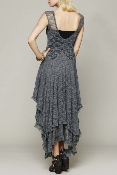 Women's Sexy Sleeveless Floral Lace Tiered Long Irregular Party Dress