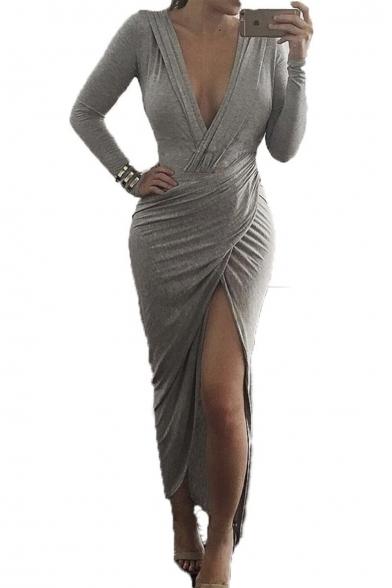 5685999b087a Sexy Ruched Plunge Irregular Curved Hem Front Vent Split Slit Maxi Long  Dress Grey ...