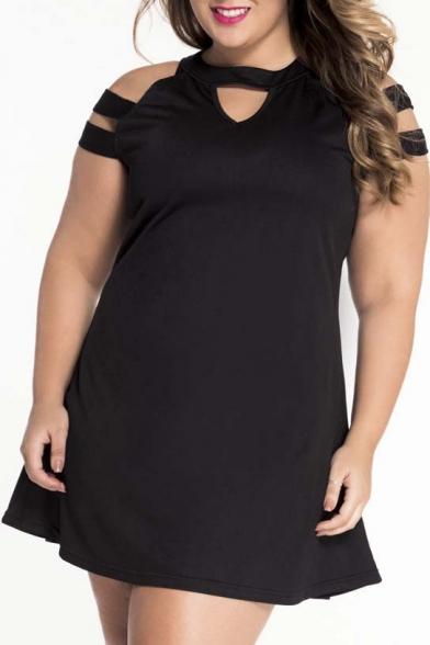 Women Dresses Plus Size Casual Black Cutouts Cold Shoulder A Line ...