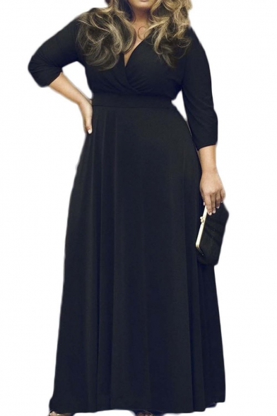Фото #1: Women's Solid V-Neck 3/4 Sleeve Plus Size Evening Party Maxi Dress