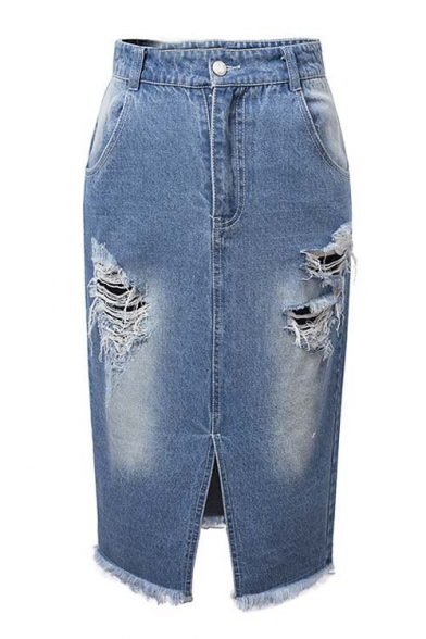 Cool Fashion Ripped High Waist Single Button Split Front Denim ...