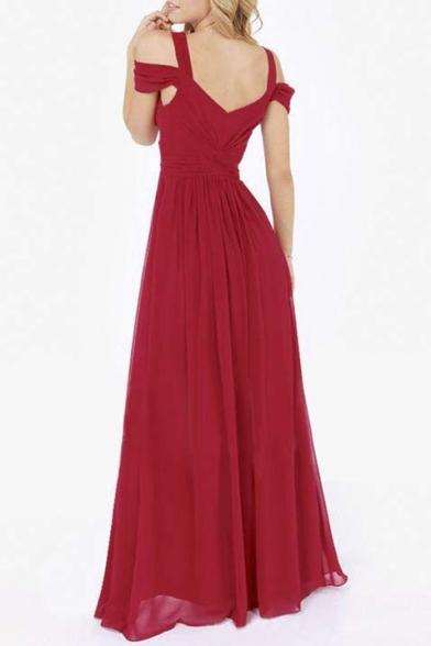 Greek Inspired Style Cold Drop Shoulder Chiffon Side Split Slit Long Maxi Dress