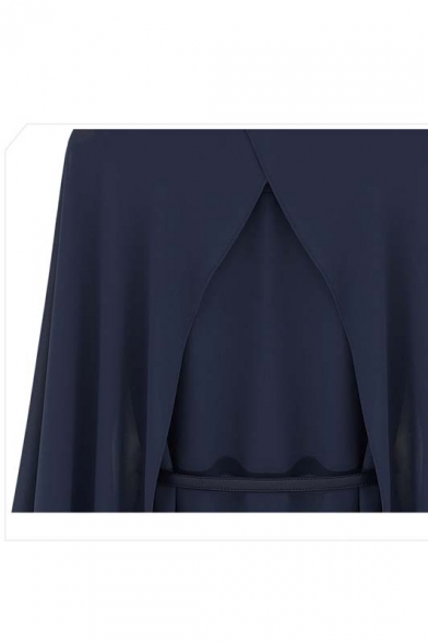 Cape Style Plain Cape Single Blouse Chiffon Lapel breasted Design Charming Blouses qxXEwUOff