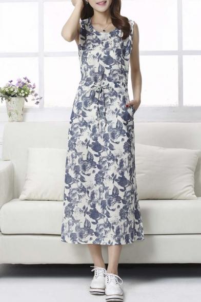 Vintage Sweet Sleeveless Round Neck Floral Print Maxi Dress