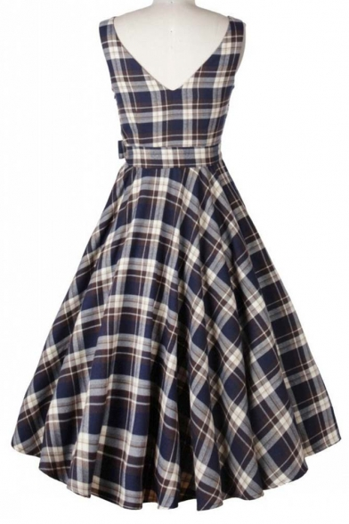7fb1c7f8258 ... Vintage Swing Midi Dress-Women 1950s Vintage Knee Length Party Cocktail  Dress ...