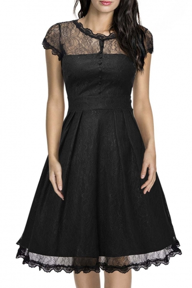 95fa9a5865f2 Women s Retro Floral Lace Cap Sleeve Vintage Midi A-Line Dress -  Beautifulhalo.com