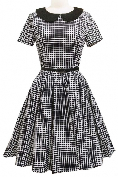 157903750 Women's Elegant Vintage 1940's Short Sleeve Plaid Fit & Flare Dress ...