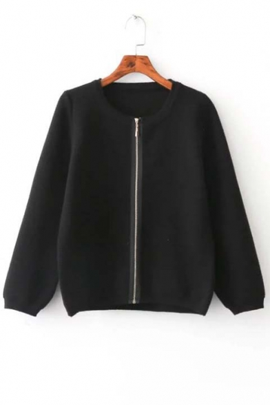Chic Plain Women Round Neck Kint Zipper Front Sweater Knitwear Tops