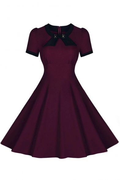 Vintage Swing Midi Dress Women 1950s Vintage Knee Length