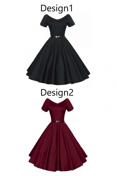 Women 1950s V-Neck Vintage Rockabilly Swing Evening Party Fit & Flare Dress