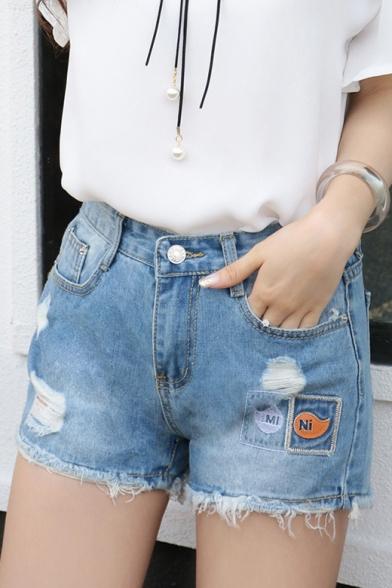 Women S Causal With Cartoon Decorate Tassels Skinny Denim Shorts