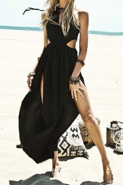 880bbbae008 ... Women s Black Cut Away Open Waist Split Holiday Beach Maxi Sundress ...