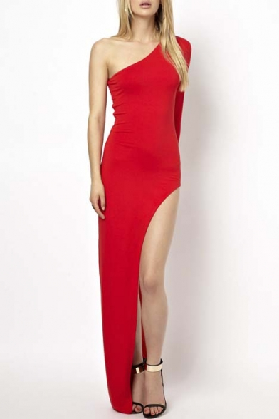 199ed554cf9 Women's Sexy One-Shoulder Long Sleeve Side High-Slit Party Maxi Dress -  Beautifulhalo.com