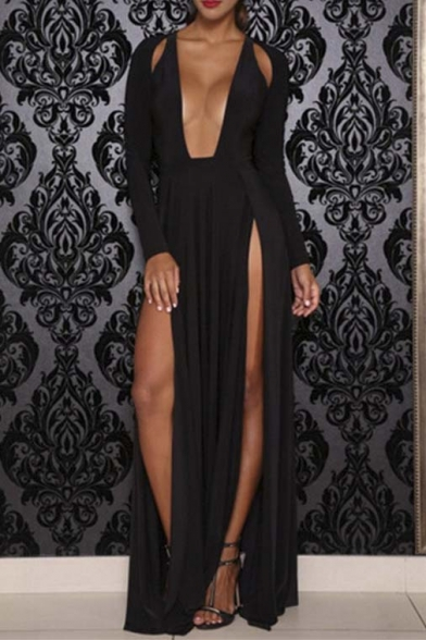 Women's Sexy Split Front Long Sleeve Maxi Dress