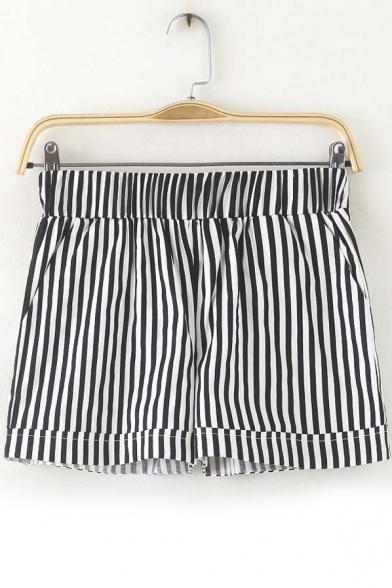 Elastic Waist Chic Striped Loose Hot Shorts