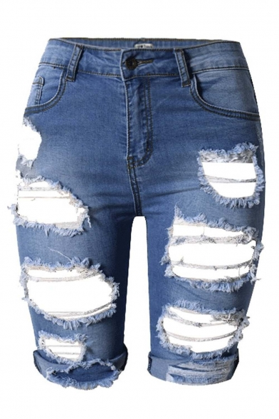 Women's High Waist Ripped Hole Washed Distressed Denim Shorts Jeans