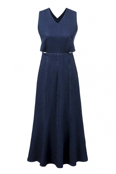 Fashionable V-neck Sleeveless Cross Back Long Denim Dress