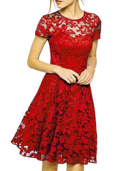 Women Round Neck Short Sleeve Pleated Lace Slim Dress