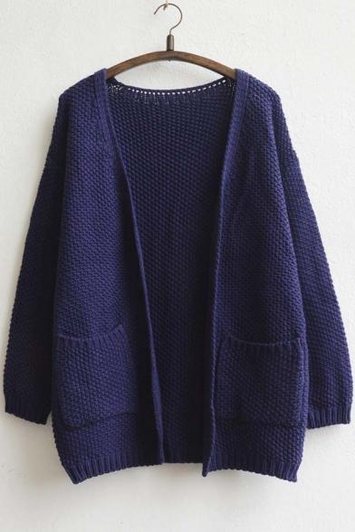 Women's Front Pocket Plain Cardigan