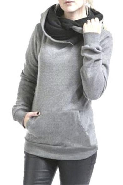 Women's High Collar Long Sleeve Hoodie Sweatshirt