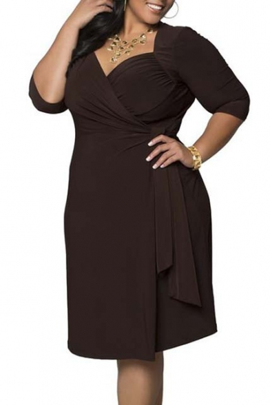 Women's Plus Size Stretchy V Neck Ruched Wrap Dress