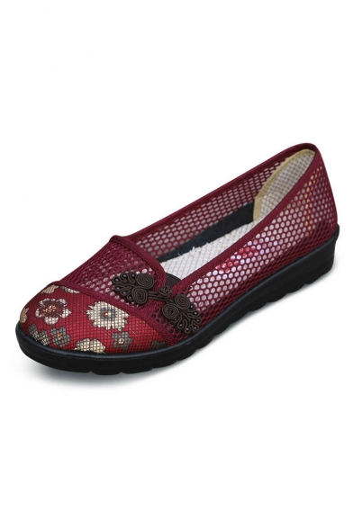 New Arrival Vintage Floral Hollow Chinese Shoes