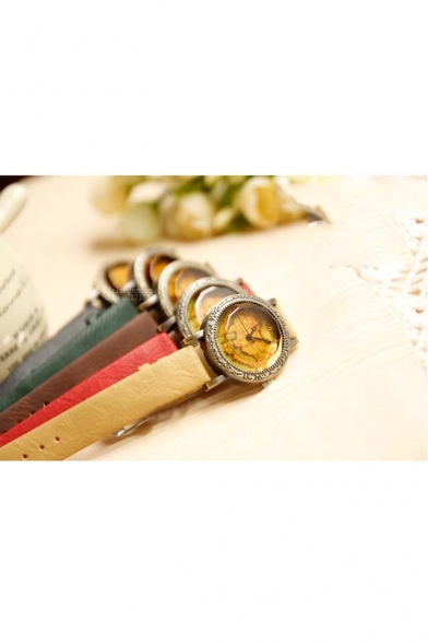 New Arrival Vintage World Map Dial PU Band Quartz Watch