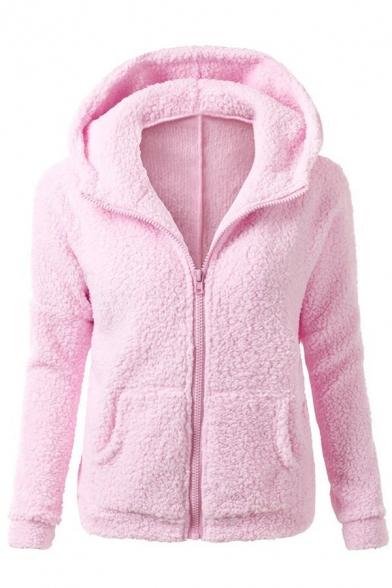 Women's Long Sleeve Full-Zip Plush Fleece Thermal Hooded Jacket