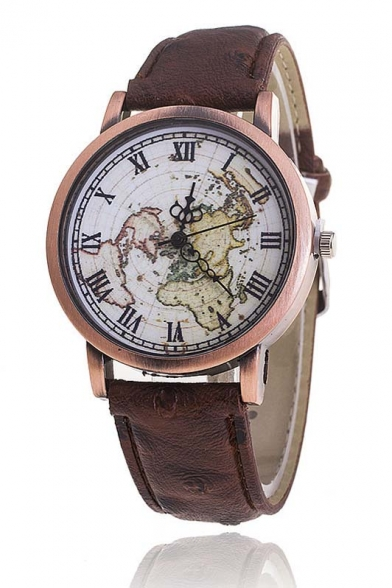New Arrival Women's Vintage Style Map Dial Quartz Watch