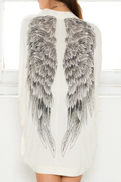 Fashion Angel Wings Print Back Long Sleeve Cardigan