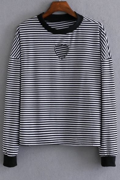 Fashion Heart Cut Out Striped Round Neck Long Sleeve Knit Top