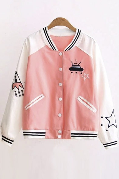 New Arrival Contrast Trim Color Block Printed Baseball Jacket ...
