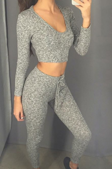 Women S Fashion V Neck Crop Top Tracksuit Hooded Joggers