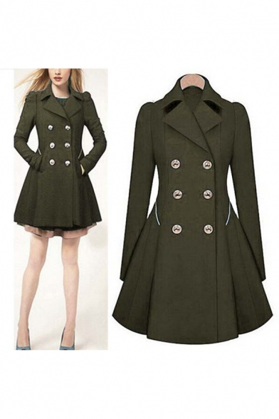 Hot Section OL Commuter Slim Long Sleeve Turn Down Collar Double Breasted Women's Trench Coat