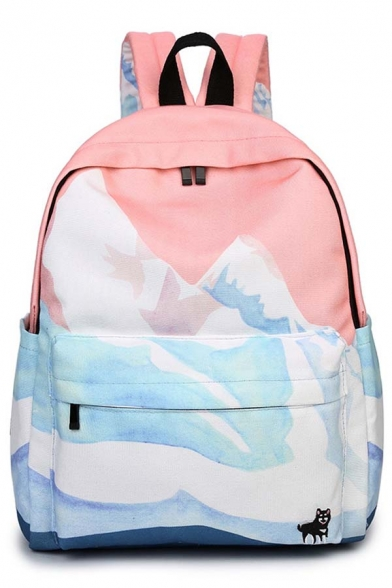 New Arrival Women's Fashion Color Block Canvas Backpack Travel Bag