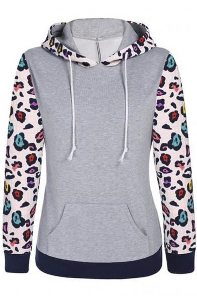Women's Floral Printed Long Sleeve Hooded Pullover Hoodies Sweatshirt
