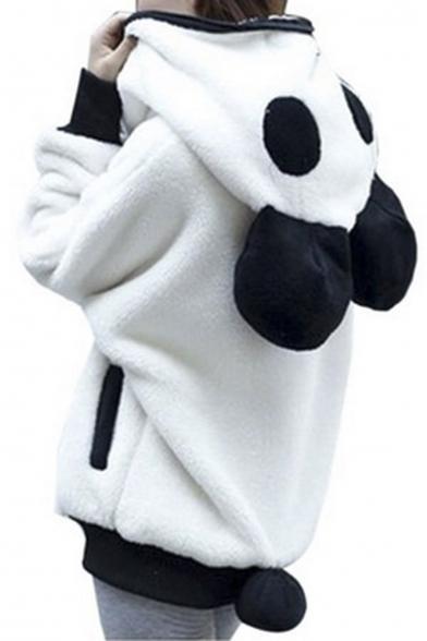 Women's Panda Ear Tail Zip up Hoodie Outerwear