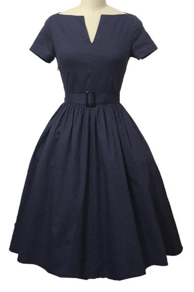 Elegant Vintage V-neck Short Sleeve Swing Dress