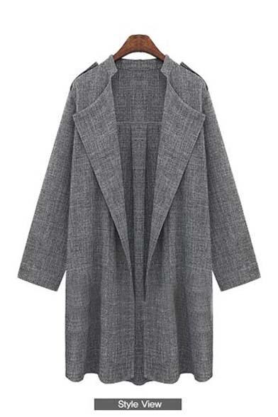 New Arrival Fashion Plus Size Open Front Lapel Long Coat