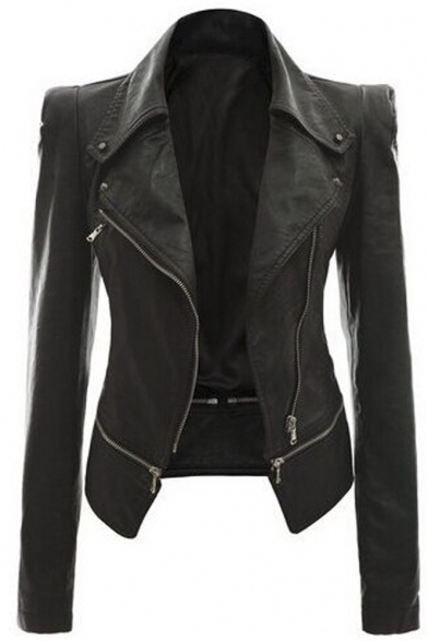 Women's Faux Leather Motorcycle Power Shoulder Jacket