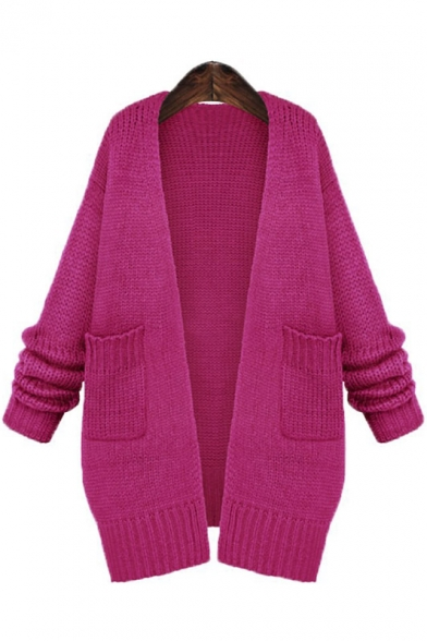 New Arrival Open Front Knitted Top Midi Cardigan with Pocket