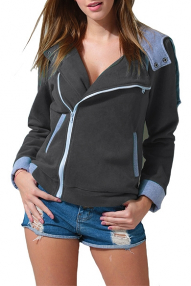 Jacket Slim Oblique Fit Zipper Women's Hoodie wEXCqx1v
