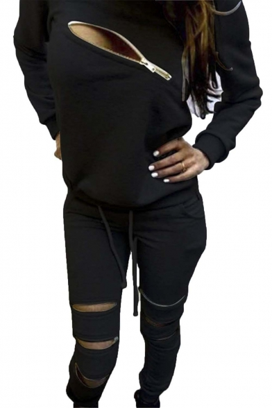 Women's Zip Detail Tracksuit Sweatshirt Joggers Set